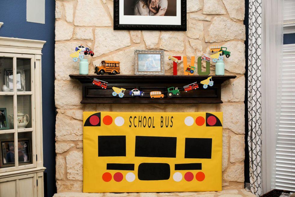 School Bus Backdrop