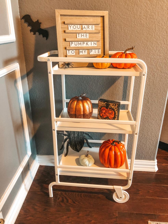 Fall Decor, Halloween Decor, Pumpkin Party, Ikea Bar Cart, Halloween Bar Cart, Fall Bar Cart